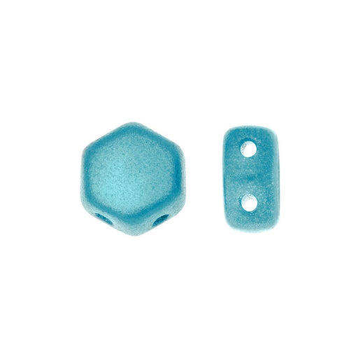 Czech Glass Honeycomb Beads, 2-Hole Hexagon 6mm, 30 Pieces, Pastel Aqua