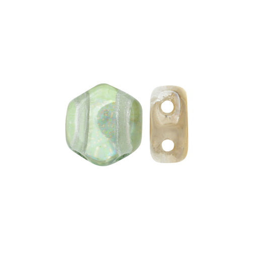 Czech Glass Honeycomb Beads, 2-Hole Hexagon 6mm, 30 Pieces, Beach Mix