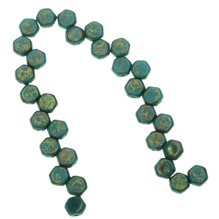 Czech Glass Honeycomb Beads, 2-Hole Hexagon 6mm, 30 Pieces, Turquoise Green Lumi