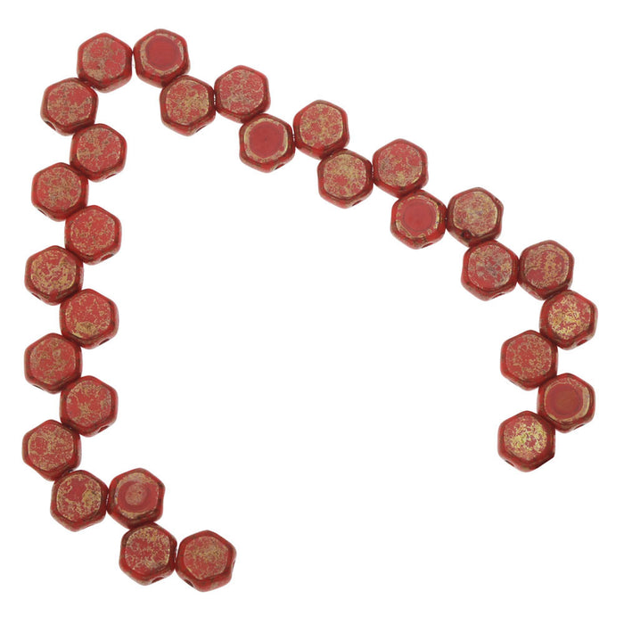 Czech Glass Honeycomb Beads, 2-Hole Hexagon 6mm, 30 Pieces, Red Lumi