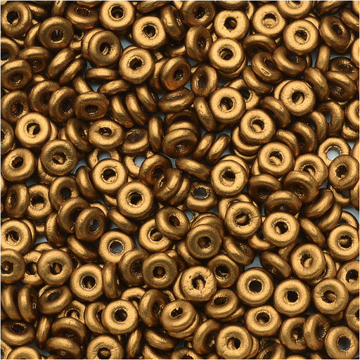 Czech Glass Flattened O Beads, 3.8x1mm, 8 Gram Tube, Brass Gold