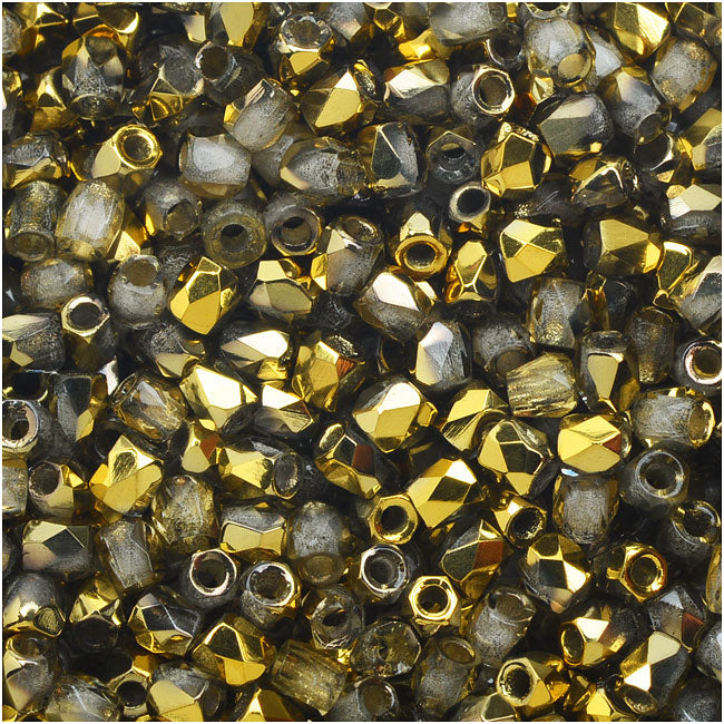 True2 Czech Fire Polished Glass, Faceted Round Beads 2mm, 50 Pieces, Crystal Amber