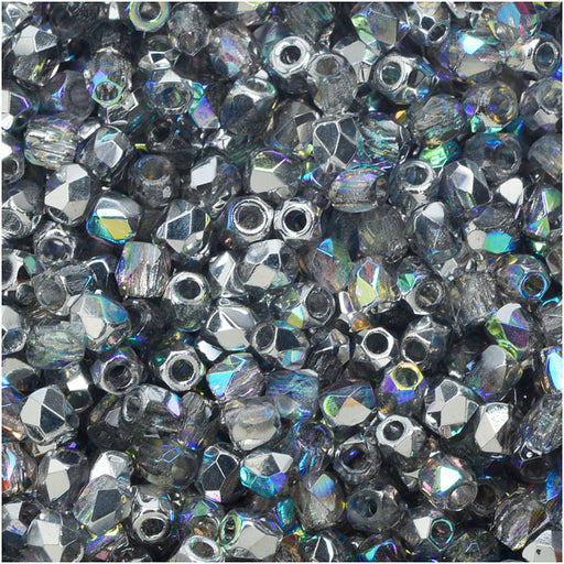 True2 Czech Fire Polished Glass, Faceted Round Beads 2mm, 50 Pieces, Crystal Silver Rainbow