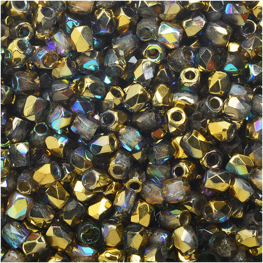 True2 Czech Fire Polished Glass, Faceted Round Beads 2mm, 50 Pieces, Crystal Gold Rainbow