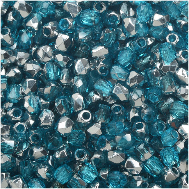 True2 Czech Fire Polished Glass, Faceted Round Beads 2mm, 50 Pieces, Aqua Labrador