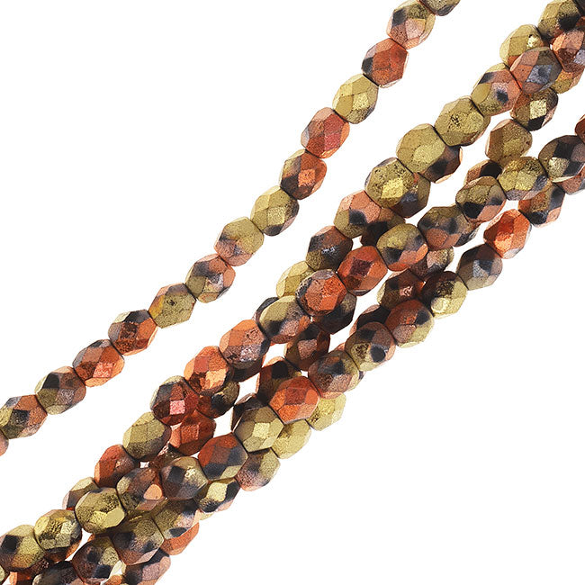 Czech Fire Polished Beads, Faceted Round 4mm, 40 Pieces, Matte California Gold Rush (Gold/Copper)