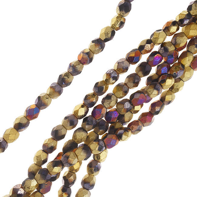 Czech Fire Polished Beads, Faceted Round 4mm, 40 Pieces, Matte California Metallic Violet and Gold