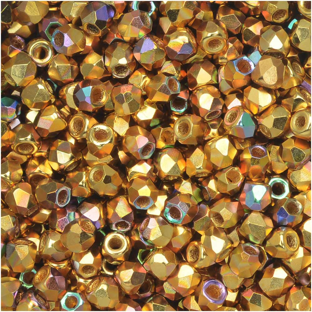 True2 Czech Fire Polished Glass, Faceted Round Beads 2mm, 50 Pieces, 24K Gold Plated AB