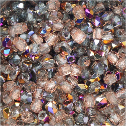 True2 Czech Fire Polished Glass, Faceted Round Beads 2mm, 50 Pieces, Crystal Sliperit