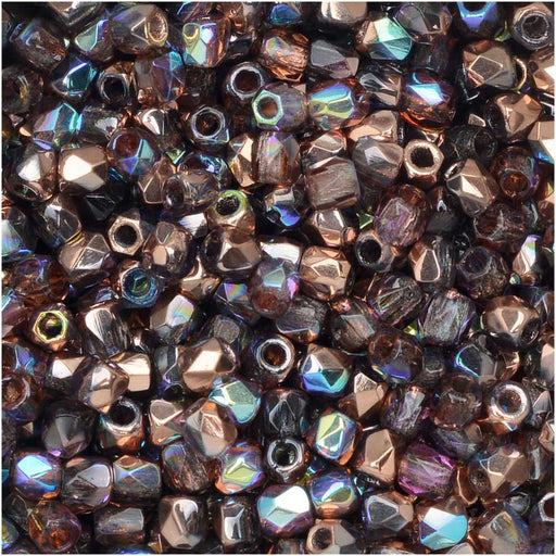 True2 Czech Fire Polished Glass, Faceted Round 2mm, 50 Pieces, Light Amethyst Copper Rainbow