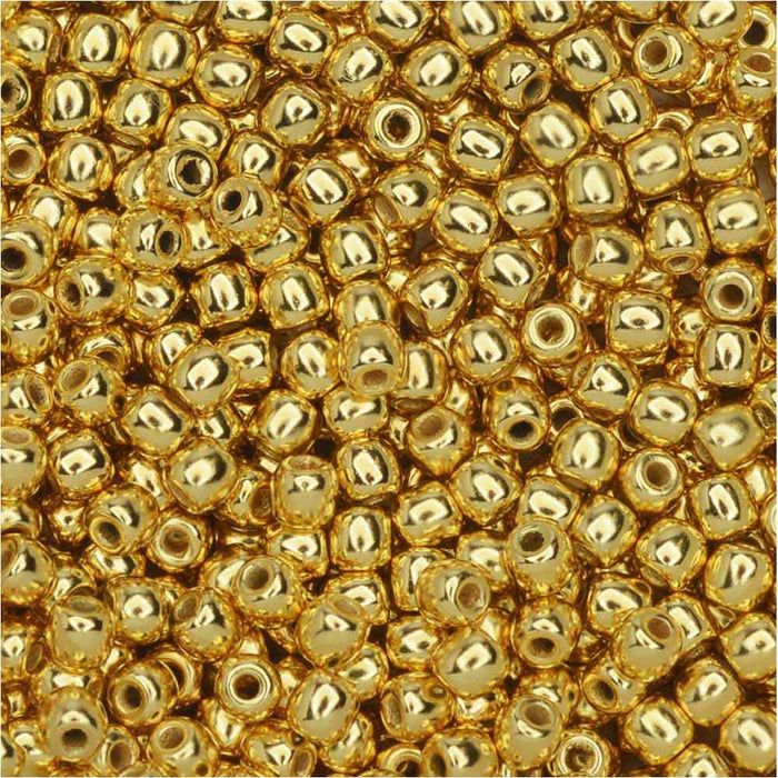True2 Czech Glass, Round Druk Beads 2mm, 190-200 Pieces, 24K Gold Plated