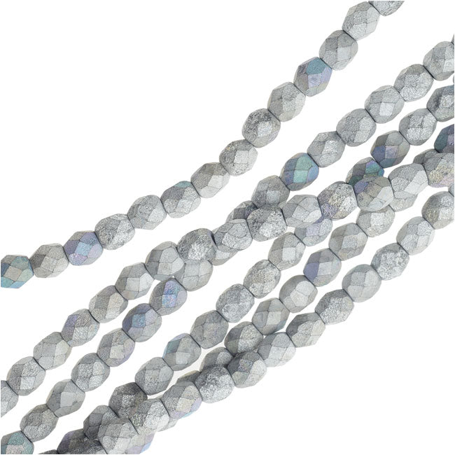 Czech Fire Polished Beads, Faceted Round 4mm, 40 Pieces, Satin Matte Silver