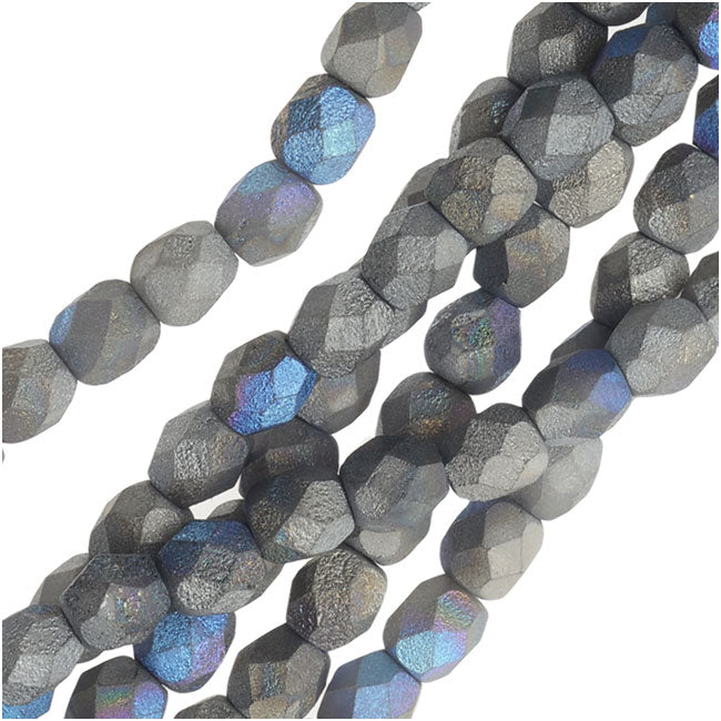 Czech Fire Polished Beads, Faceted Round 4mm, 40 Pieces, Satin Matte Graphite