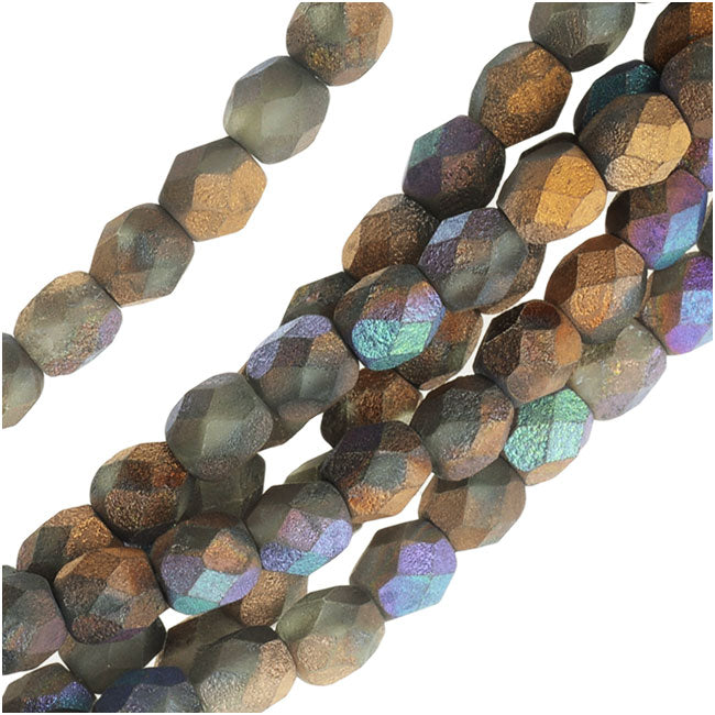 Czech Fire Polished Beads, Faceted Round 4mm, 40 Pieces, Satin Matte Bronze