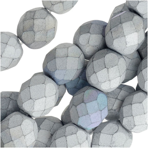 Czech Fire Polished Beads, Faceted Round 8mm, 20 Pieces, Satin Matte Silver