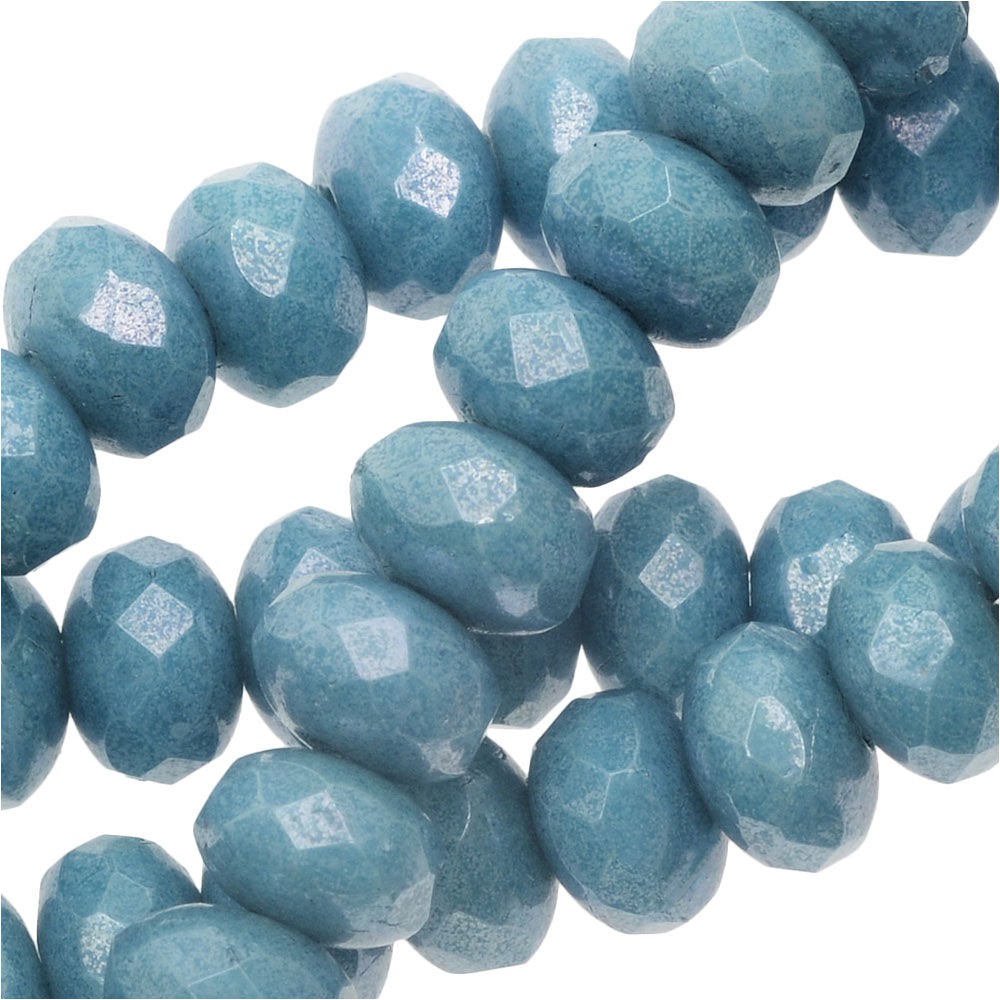 Czech Fire Polished Glass, Donut Rondelle Beads 5x3.5mm, 50 Pieces, Blue Luster