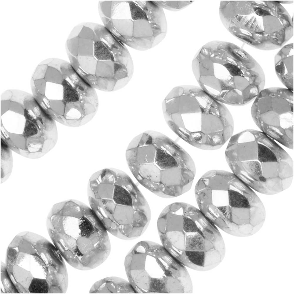 Czech Fire Polished Glass, Donut Rondelle Beads 7x4mm, 40 Pieces, Labrador