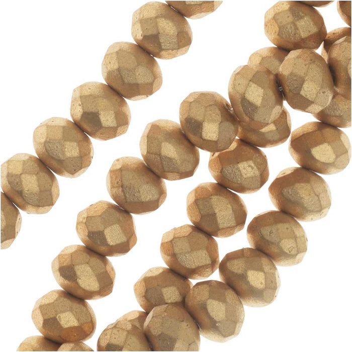 Czech Fire Polished Glass, Donut Rondelle Beads 8.5x6mm, 25 Pieces, Bronze Pale Gold