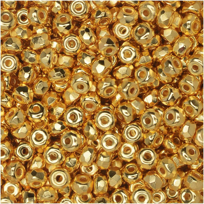 True2 Czech Fire Polished Glass, Faceted Micro Spacer Beads 2x3mm, 100 Pieces, 24kt Gold Plated