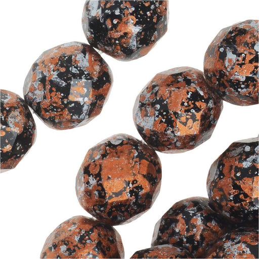 Czech Fire Polished Glass, Faceted Round Beads 8mm, 20 Pieces, Tweedy Light Copper