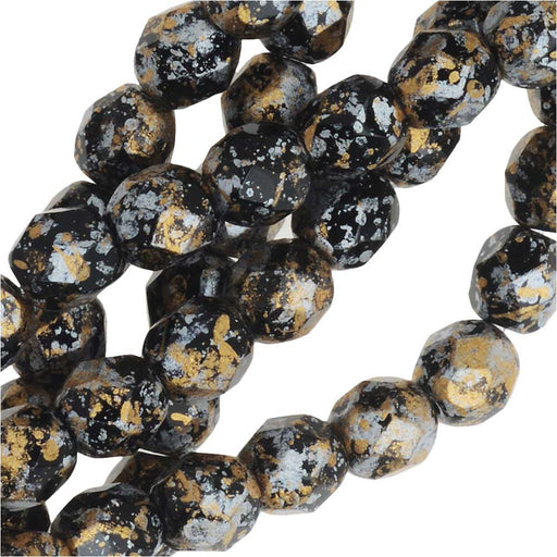 Czech Fire Polished Glass, Faceted Round Beads 4mm, 40 Pieces, Tweedy Gold