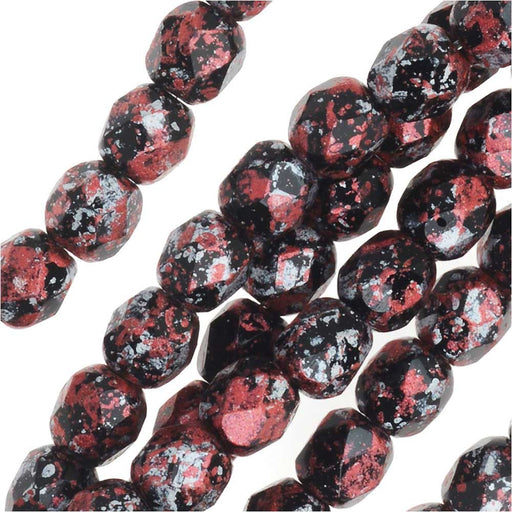 Czech Fire Polished Glass, Faceted Round Beads 4mm, 40 Pieces, Tweedy Red
