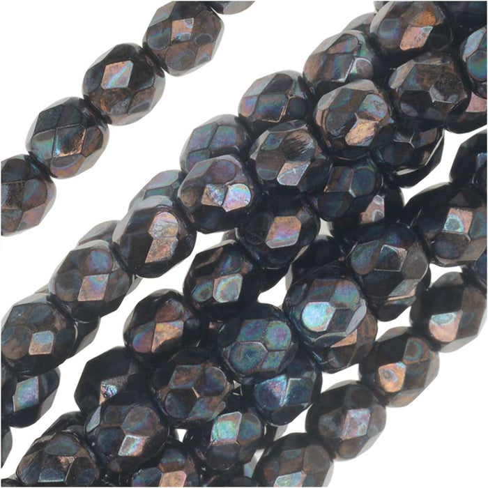 Czech Fire Polished Glass, Faceted Round Beads 4mm, 40 Pieces, Jet Nebula