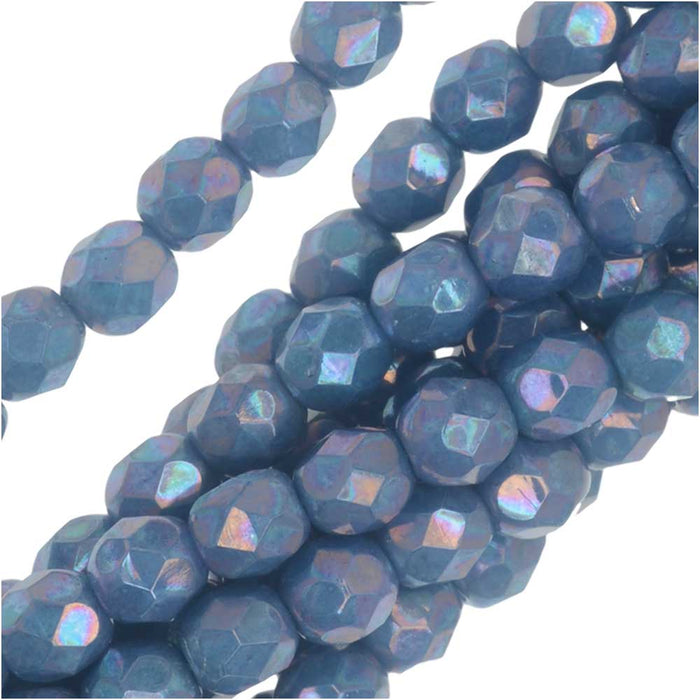 Czech Fire Polished Glass, Faceted Round Beads 4mm, 40 Pieces, Blue Turquoise Nebula
