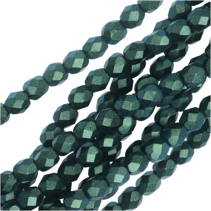 Czech Fire Polished Glass, Faceted Round Beads 4mm, 40 Pieces, Polychrome Viridian