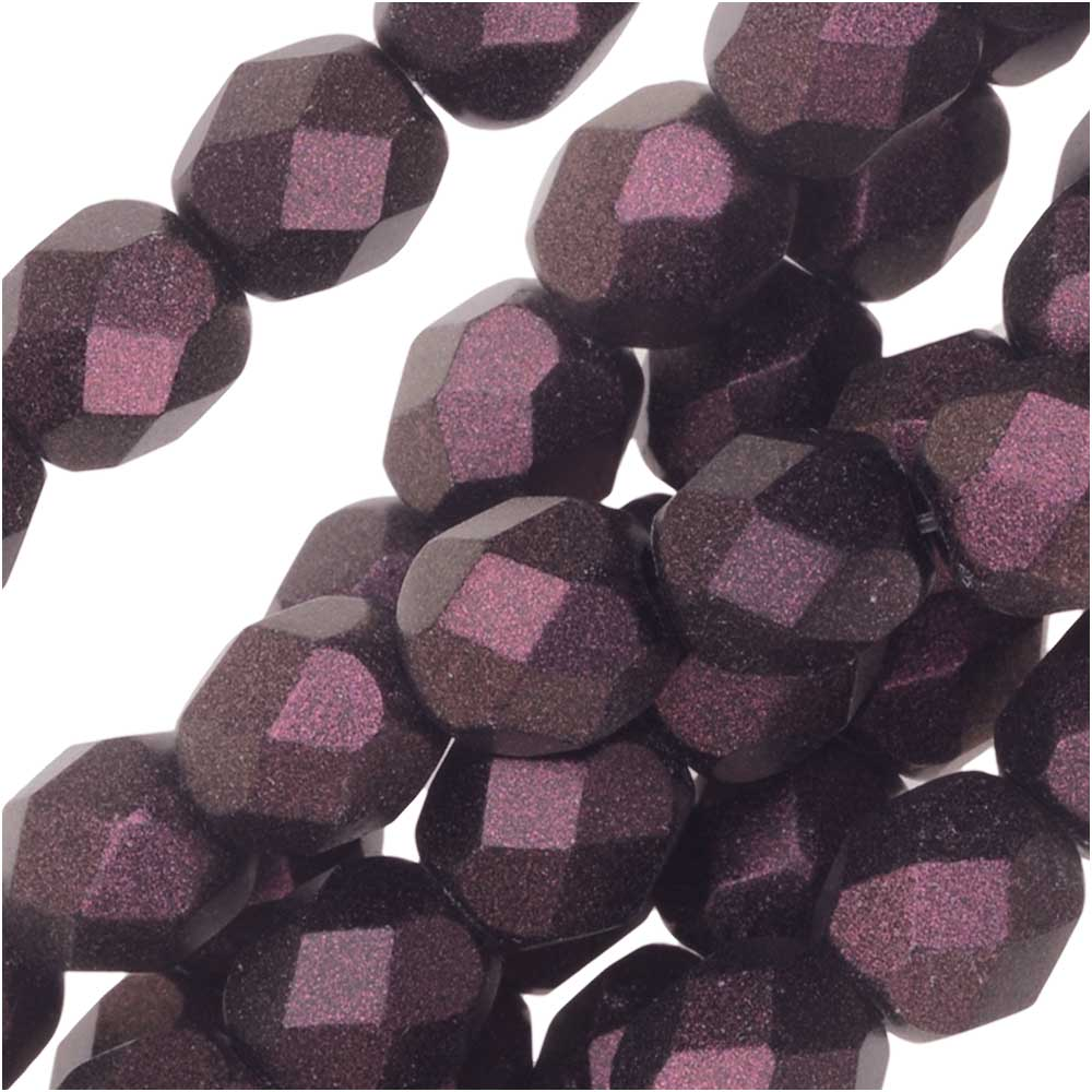 Czech Fire Polished Glass, Faceted Round Beads 6mm, 25 Pieces, Polychrome Purple Bronze