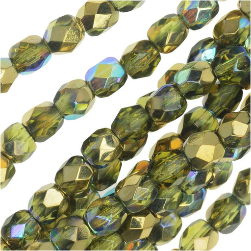 Czech Fire Polished Glass, Faceted Round Beads 4mm, 40 Pieces, Olive Gold Rainbow