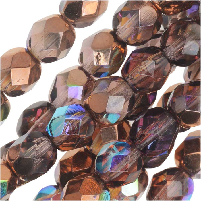 Czech Fire Polished Glass, Faceted Round Beads 6mm, 25 Pieces, Light Amethyst Copper Rainbow