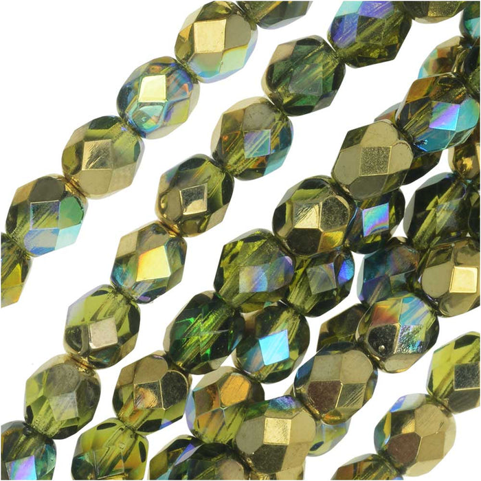 Czech Fire Polished Glass, Faceted Round Beads 6mm, 25 Pieces, Olive Gold Rainbow