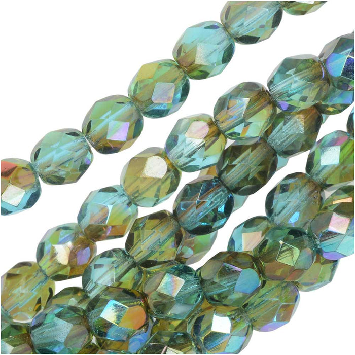 Czech Fire Polished Glass, Faceted Round Beads 6mm, 25 Pieces, Aqua Orange Rainbow