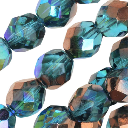 Czech Fire Polished Glass, Faceted Round Beads 8mm, 20 Pieces, Aqua Copper Rainbow