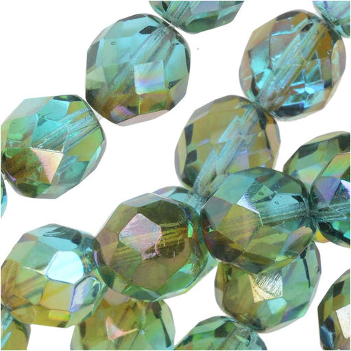Czech Fire Polished Glass, Faceted Round Beads 8mm, 20 Pieces, Aqua Orange Rainbow