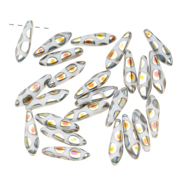 Czech Glass 5 x 16mm Dagger Beads - Peacock White (25)