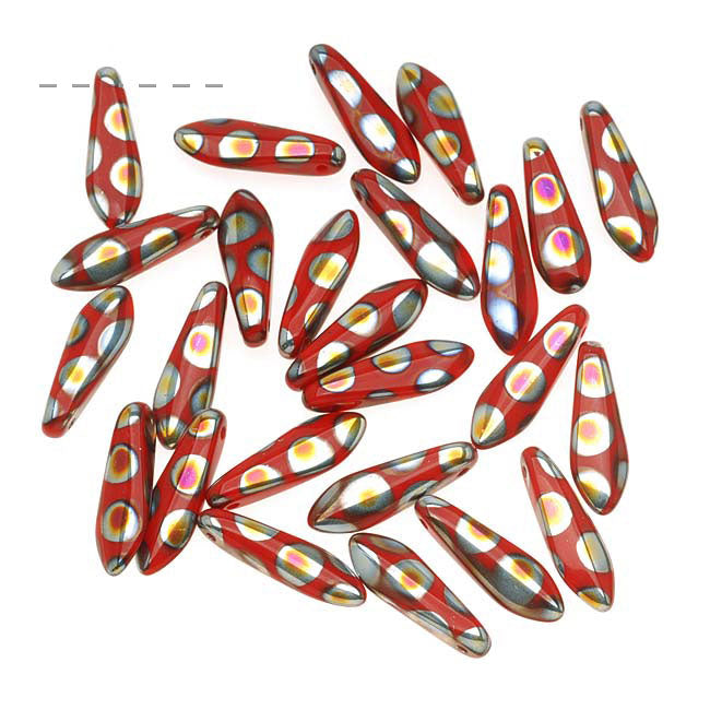 Czech Glass 5 x 16mm Dagger Beads - Peacock Red (25)
