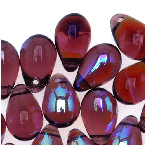 Czech Glass Beads 9mm Teardrop Amethyst Purple AB (50)
