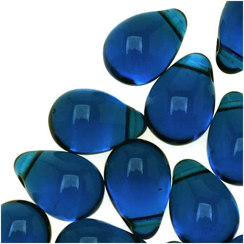 Czech Glass Beads 9mm Teardrop Aqua Capri Blue (50)