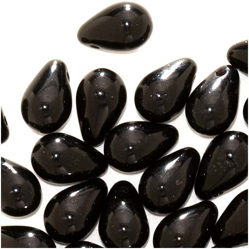 Czech Glass Beads 9mm Teardrop Jet Black (50)