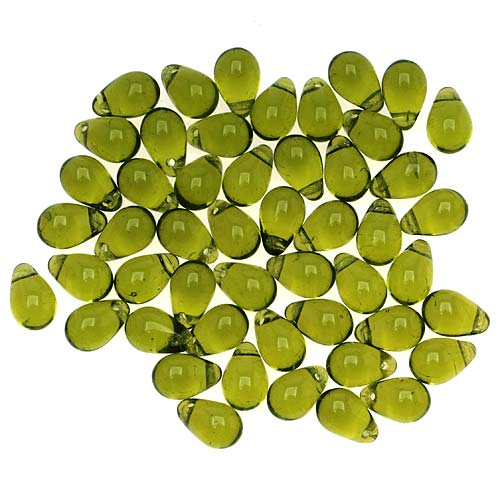 Czech Glass Beads 9mm Teardrop Olivine Green (50