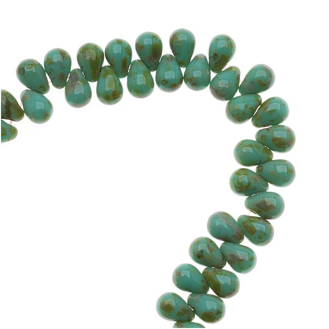 Czech Glass Teardrop Beads 6x4mm 'Opaque Turquoise Picasso' (50)