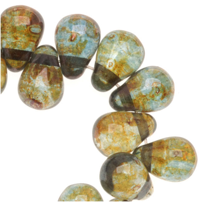 Czech Glass Teardrop Beads 6x4mm 'Transparent Green' (50)