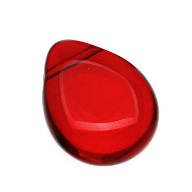 Czech Glass Beads Flat Pear Teardrops  - 16x12mm 'Siam Ruby' (12)