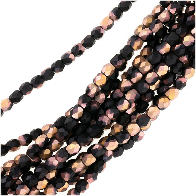 Czech Fire Polished Glass Beads 3mm Round 'Matte Apollo Jet' (50)