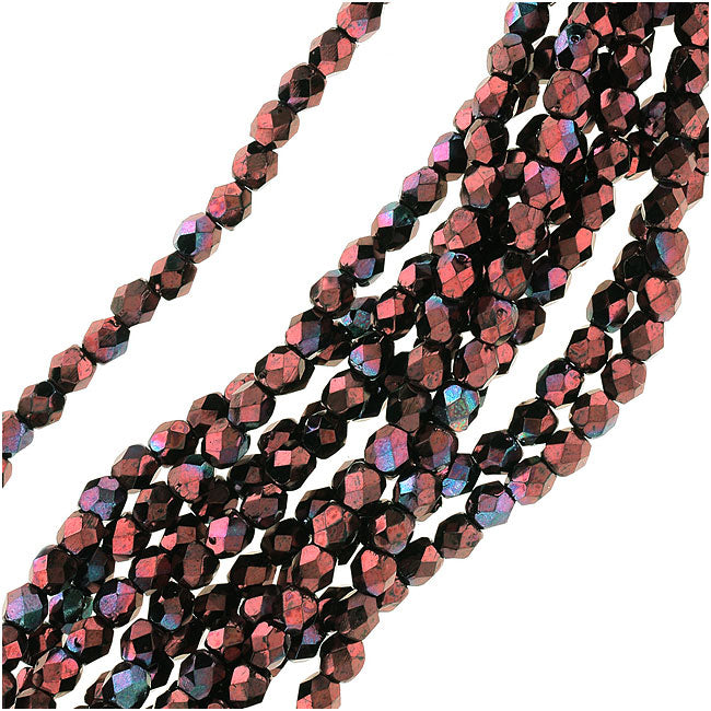 Czech Fire Polished Glass Beads 3mm Round 'Metallic Amethyst Luster' (50)