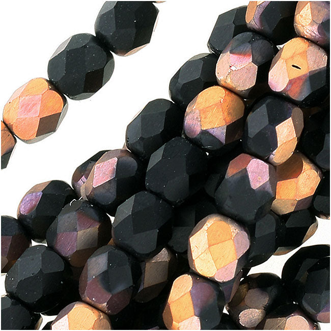 Czech Fire Polished Glass Beads 4mm Round 'Matte Apollo Jet' (50)