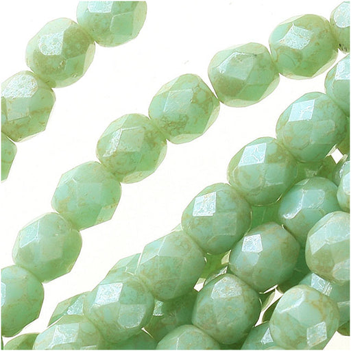 Czech Fire Polished Glass Beads 4mm Round 'Opaque Pale Turquoise Star Dust' (50)