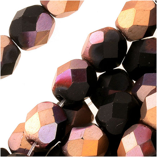 Czech Fire Polished Glass Beads 6mm Round 'Matte Apollo Jet' (25)